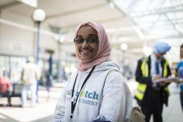 An outreach volunteer in Bradford Interchange